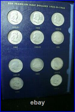 Complete Bu Set Of Franklin Half Dollars 1948-1963 Whitman Folder 35 Coins
