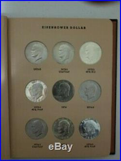 Complete Eisenhower Dollar Set With Proofs In Dansco Album 32 Coins With Silver