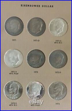 Complete Eisenhower Dollar set P D & Proof 1971-1978 32 coins Dansco with slip UNC