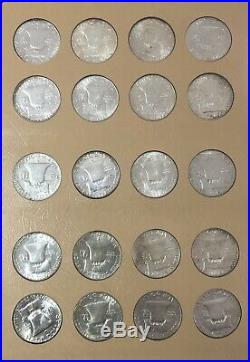 Complete Franklin Half Dollar Set. 1948-1963 35 Coins Toned BU in Dansco Album