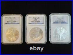 Complete Full 1986-2010 US American Silver Eagle Dollar Set NGC MS 69 25 Years