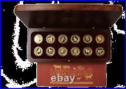 Complete Gold PROOF Lunar Series 1 SET 1/10 oz in Original Wood Case COA