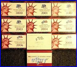 Complete Lot 10 2000-2009 US Mint 90% Silver Proof Set Coin Collection Free Ship