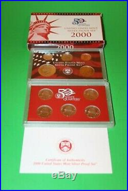 Complete Lot 8 2000-2008 US Mint 90% Silver Proof Set Coin Collection