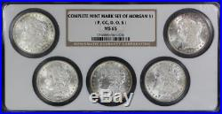 Complete Mint Mark Morgan Dollar Set P, CC, D, O, S NGC MS-65 -158185 PROMOTED