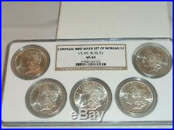 Complete Mint Mark Set of 5 Morgan Silver Dollar Coins P, CC, D, O, S NGC MS 64