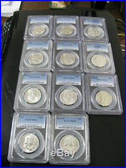 Complete PCGS Certified Franklin Half Dollar Set, 35 Coins, All MS-64
