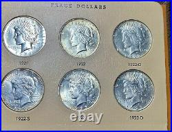 Complete Peace Silver Dollar Set 1921-1935. Ch/gem Bu Dansco Album