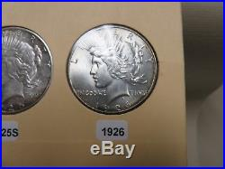 Complete Peace Silver Dollar Set 1921-1935 In Old Library Of Coins Book