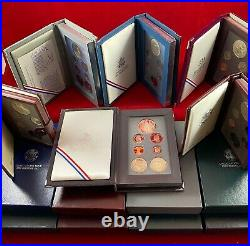 Complete Prestige Proof Set Lot of 14, U. S. Mint S, with Silver Commemoratives