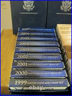 Complete Run of US Mint Proof Sets From 1999 to 2020(Clad) in 3 Storage Boxes