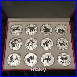 Complete Set (12) Australia 1 Oz. Silver Lunar Series II Coins 2008-2019 + Case