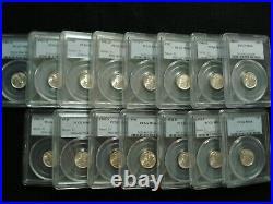 Complete Set 1941-1945 Pds Mercury Dimes Pcgs Ms66