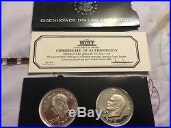 Complete Set 1971-1978 Eisenhower Silver Dollars with Proof Dollars 32 Coins