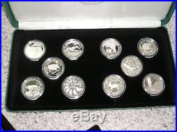 Complete Set 1986 1988 Silver World Wildlife Fund Silver Proof Coins 25 Pieces