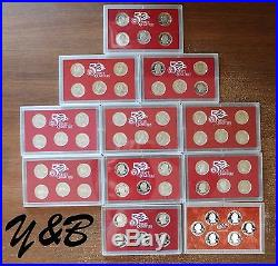 Complete Set 1999-2008+2009 US 90% SILVER PROOF State Territorie Quarter 56 coin