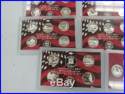 Complete Set 1999-2009 US 90% SILVER PROOF State & Territory Quarters 56 pc Q1BF