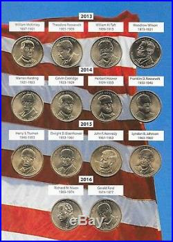 Complete Set 2007-2016 $1 Uncirculated Presidential Dollar Collection In Album