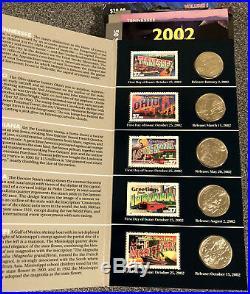 Complete Set - 50 State Quarter & Stamp Greetings America Portfolio'99/'08