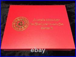Complete Set Australia 1 Oz Silver Lunar Series III Coins 2020-2021 Ox + Case