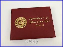 Complete Set Australia 1 Oz. Silver Lunar Series II 2 Coins 2008 2019
