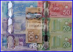Complete Set Bank Canada $5 $10 $20 $50 $100 Polymer Banknotes Commemorative UNC