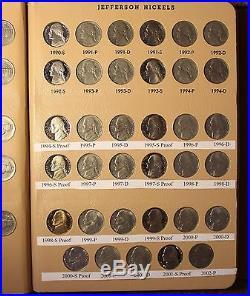 Complete Set Dansco Album Jefferson Nickels 1938-2014 D P S + Bu Proof 219 Coins