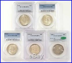 Complete Set Franklin Half Dollars 1948-1963 (35 Coins) PCGS NGC FBL Except 53-S