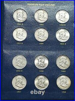 Complete Set Franklin Half Dollars 35 Silver Coins High Grades- Whitman 9126