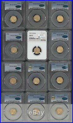 Complete Set Of $2 1/2 Indian Gold All Graded Cac
