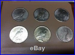 Complete Set Of Peace Dollars 1921-1935-s 24 Coins Silver Dansco Album