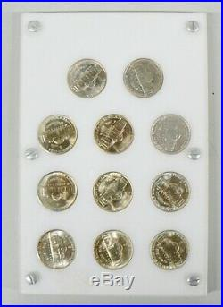Complete Set Of Uncirculated War Time 35% Silver Nickles