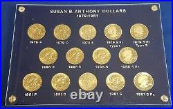 Complete Set Susan B Anthony Dollars 1979-1981 BU and Proof in Hard Plastic Case
