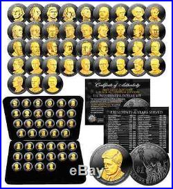 Complete Set US PRESIDENTIAL DOLLARS BLACK RUTHENIUM 24K Gold Edition with BOX