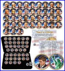 Complete Set U. S. PRESIDENTIAL $1 DOLLAR 39 COINS COLORIZED 2-SIDED with BOX