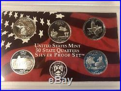 Complete Set of 1999-2008 U. S. 90% SILVER PROOF 50 State Quarters Free Shipping