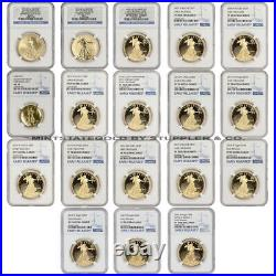 Complete Set of 1oz Gold Eagles 1986-W to 2021-W Gold Eagle NGC Proof 70 withER