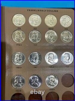 Complete Set of 35 Choice to Gem BU Franklin Half Dollars 1948-1963 with Album