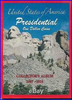 Complete Set of Presidential One Dollar Coins with Album 2007 to 2016 P & D