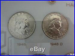 Complete Set of United States BU Franklin Silver Half Dollars 1948-1963 P, D & S