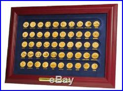 Complete State Quarter Set Gold Plated in Frame updated 56 coins