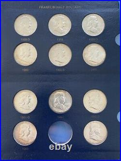 Complete Unc. Franklin Half Dollar Set In Whitman Album (1948-1963) 35 Coins