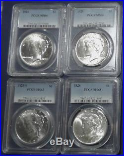 Complete set of Brilliant Uncirculated Peace Dollars. All Certified by PCGS