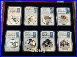 DISNEY Mickey Donald 8 SILVER coins complete SET NGC PF 70 UC 1st R display BOX
