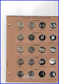 Dansco 1999 2008 2009 state quarter complete set D P S and SILVER PROOF PDSS