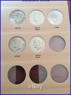 Eisenhower Dollars Complete Roll Set! 20 Albums! 640 Unc & Proof Coin Collection