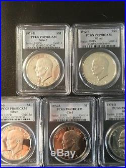 Eisenhower Silver Dollars Complete Set Of 11 Numbered Series PR69DCAM