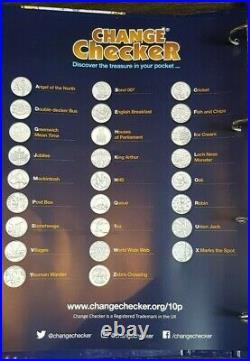 FULL SET UNCIRCULATED A Z ALPHABET TEN PENCE 10p COIN ALBUM COMPLETER MEDAL BNC