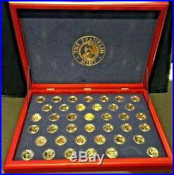 Franklin Mint Complete Presidential Dollar Set WithCase (39 Coins) Gold Plated