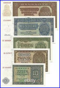 Germany Ddr Complete Set 9 Notes 1000-0.50 Marks 1948. Unc. Rare. 7rw 09abr